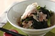 豚肉と小松菜のからししょうゆ和え