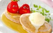 イチゴのホットケーキ
