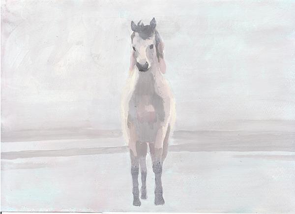 『海辺の馬』白とグレーの世界。「この絵を描いてる時は、あの世界がずっと頭の中にありました。現実かどうかはともかく、脳裏にあるものを描くという感じ」