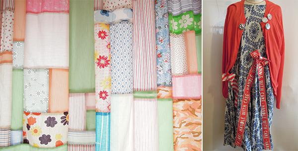 左)ヤッコさんちのカーテン。仕事柄、生地の残りを集めてパッチワークされたもの。右)パーティなどでよくお召しのワンピースは、ミントデザイン、鮮やかな赤のカーディガンは、Machiko Jinto。ヤッコさんは、Machiko Jintoのお洋服がお好き。
