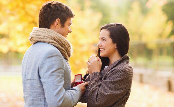 指輪を見せる男性とよろこぶ女性