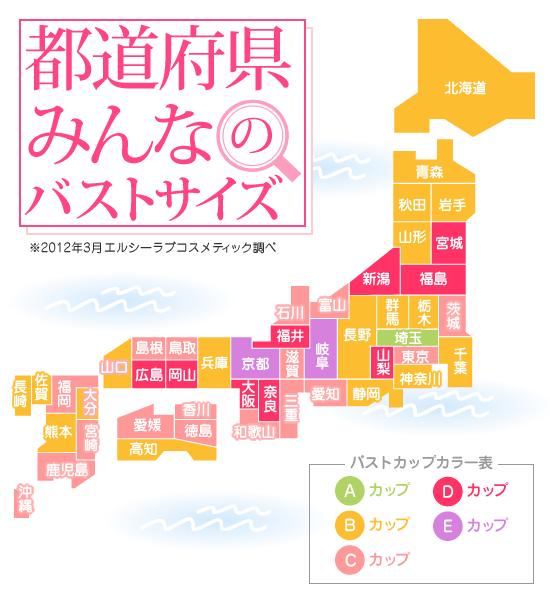 都道府県の平均バストサイズを ...