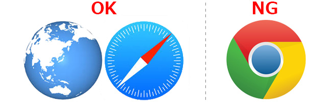Chromeなど、ブラウザによっては位置情報の取得を推奨しないものがございます。スマートフォン端末の標準ブラウザをご利用ください。