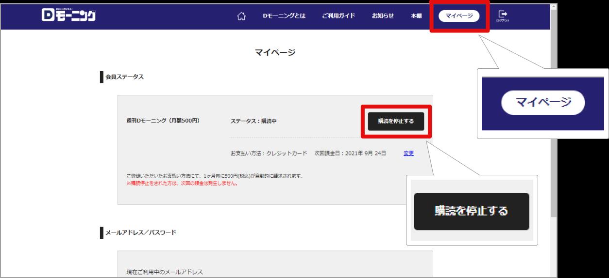 STEP1:マイページでの購読停止