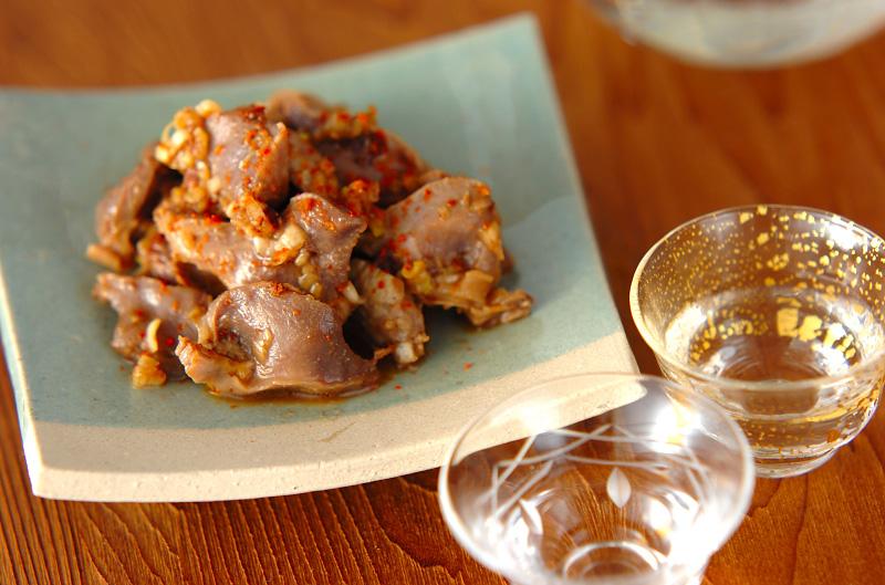 薄切り砂肝のネギ酢和え