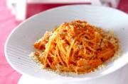 トマトソースでクリームパスタ