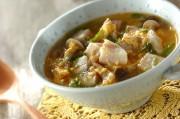 ゆで豚とシメジのサンラータン風スープ