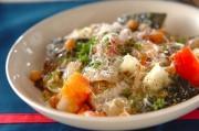 サバとヒヨコ豆のプレゼ(蒸し煮)