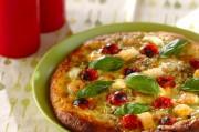 シーフードとバジルのピザ