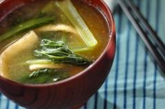 小松菜とお揚げのみそ汁