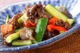 キュウリと牛肉の炒め物