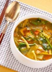 油揚げ・カレー味のスープ