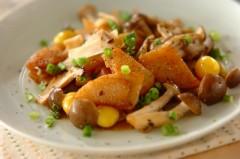 長芋とキノコのニンニクしょうゆ炒め
