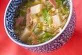 レタスとハムのスープ