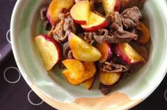 サツマイモと牛肉の甘辛炒め