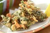 大豆と菊菜のかき揚げ
