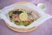 秋鮭と野菜の包み蒸し 柑橘添え