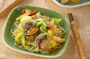 キャベツとアサリの和え麺