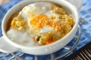 半熟卵の焼きポテト