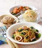 イカと小松菜スパゲティの献立