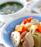 ゆで野菜&スープの献立