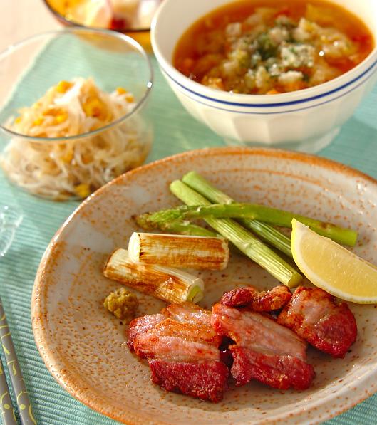 豚バラ肉のシンプル塩焼きの献立
