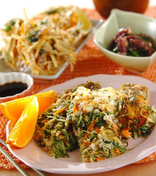 水菜とひき肉の卵焼きの献立