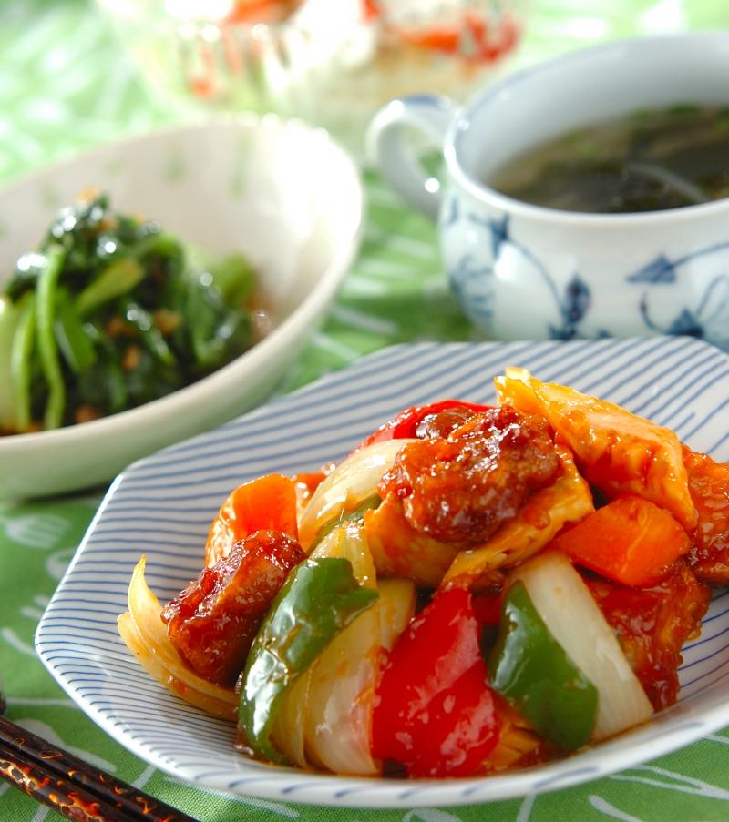 野菜たっぷり酢豚の献立