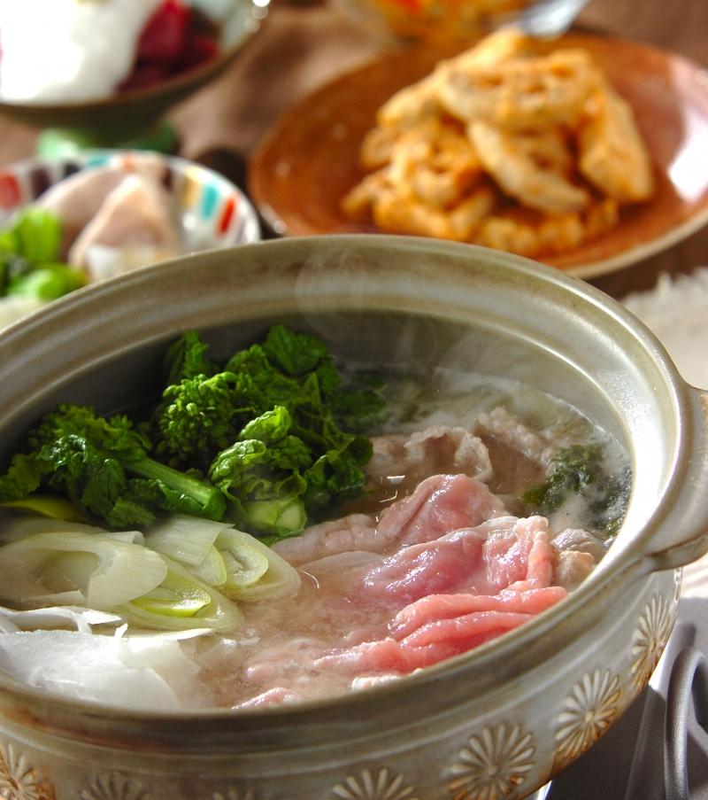 春野菜と豚肉のしゃぶしゃぶの献立