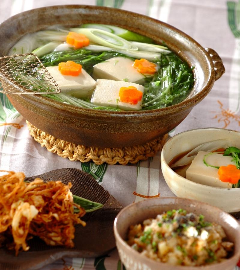 熱々湯豆腐 ポン酢しょうゆ添えの献立