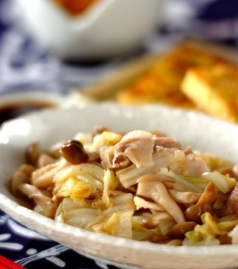 豚しゃぶと白菜の蒸し煮の献立