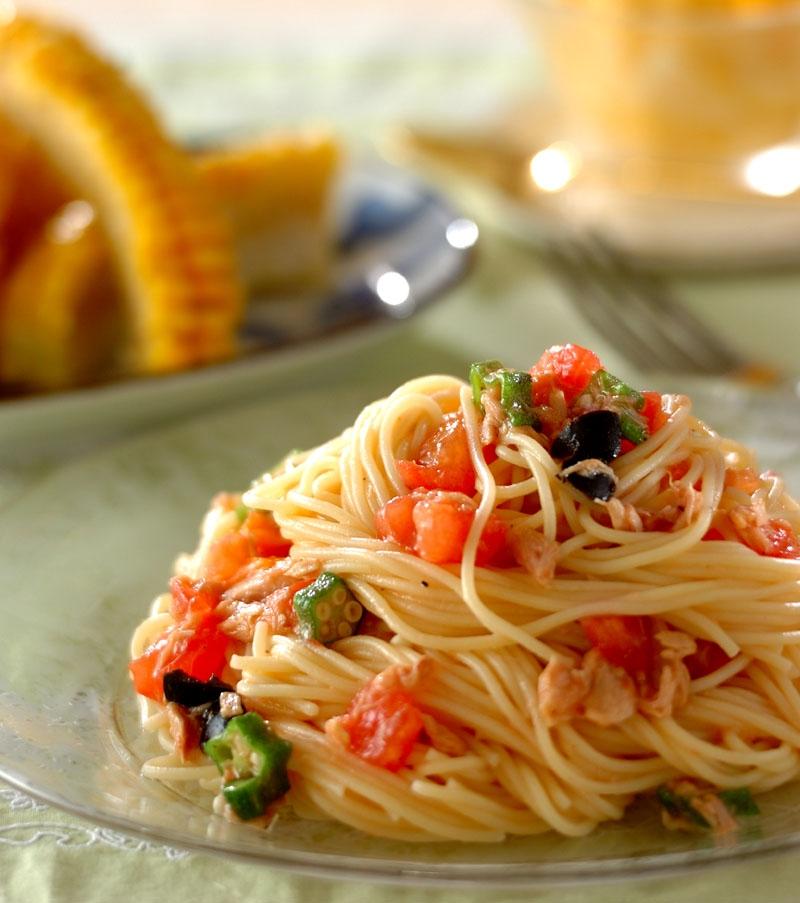 トマトとツナの冷製パスタの献立