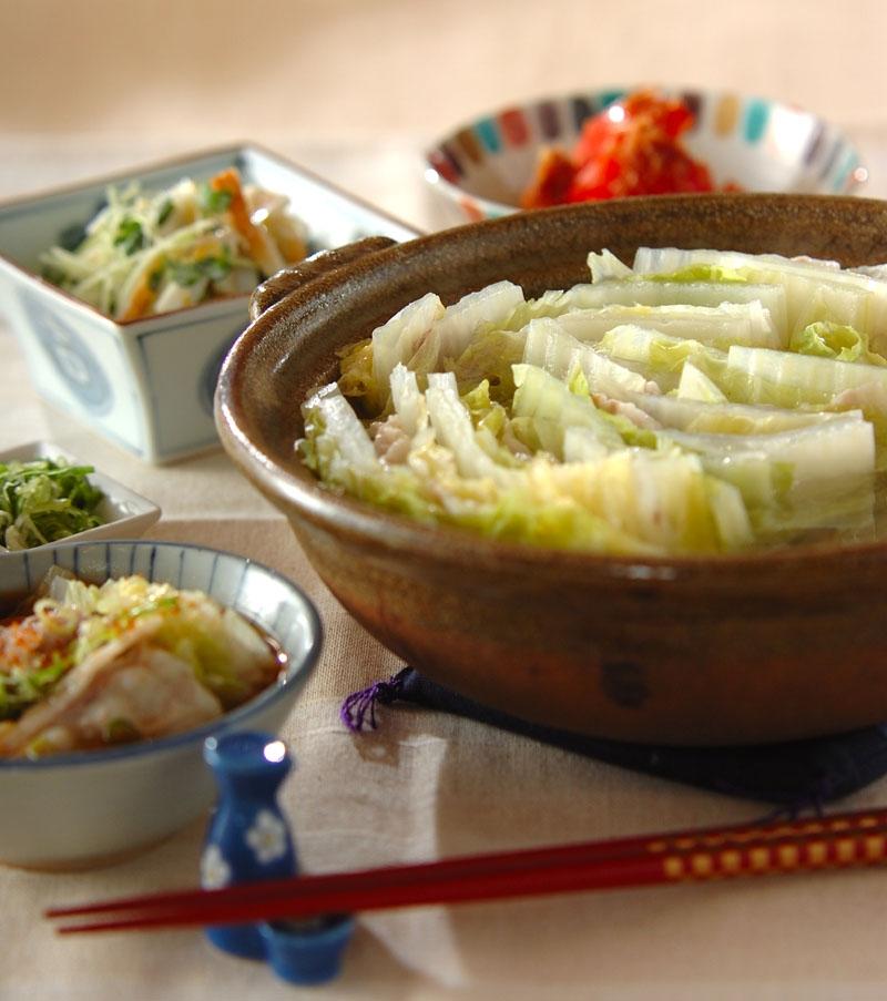豚バラと白菜のミルフィーユ鍋の献立