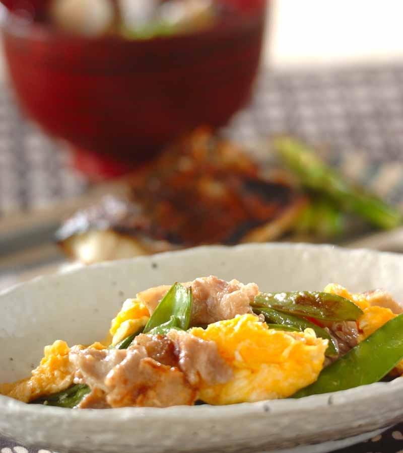 キヌサヤと豚バラの卵炒めの献立