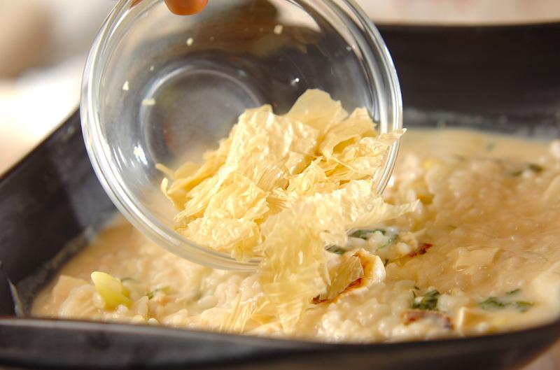 鶏鍋~酒粕鍋~酒粕湯葉ご飯の作り方の手順9