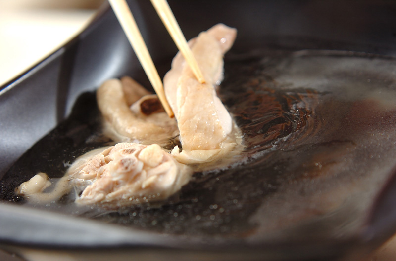 鶏鍋~酒粕鍋~酒粕湯葉ご飯の作り方の手順5