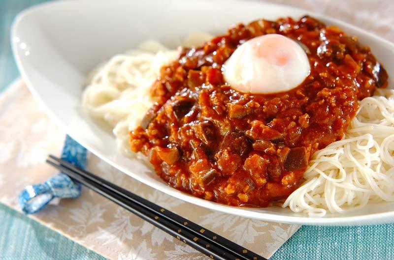 ナスのジャージャー素麺
