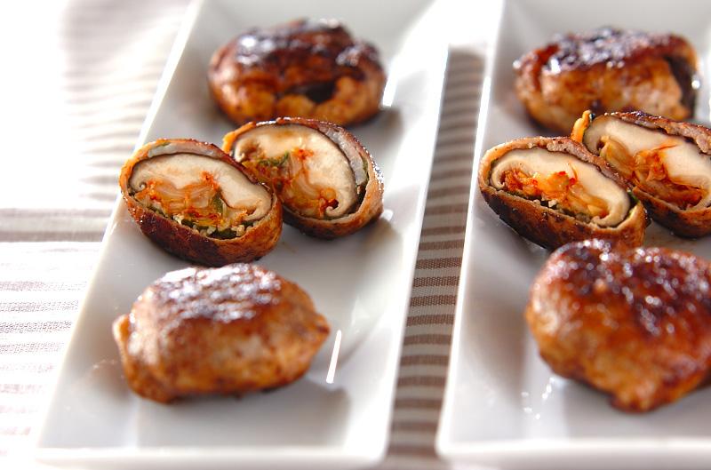 シイタケキムチの豚肉巻き