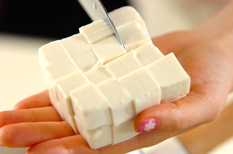 豆腐のみそ汁の下準備1