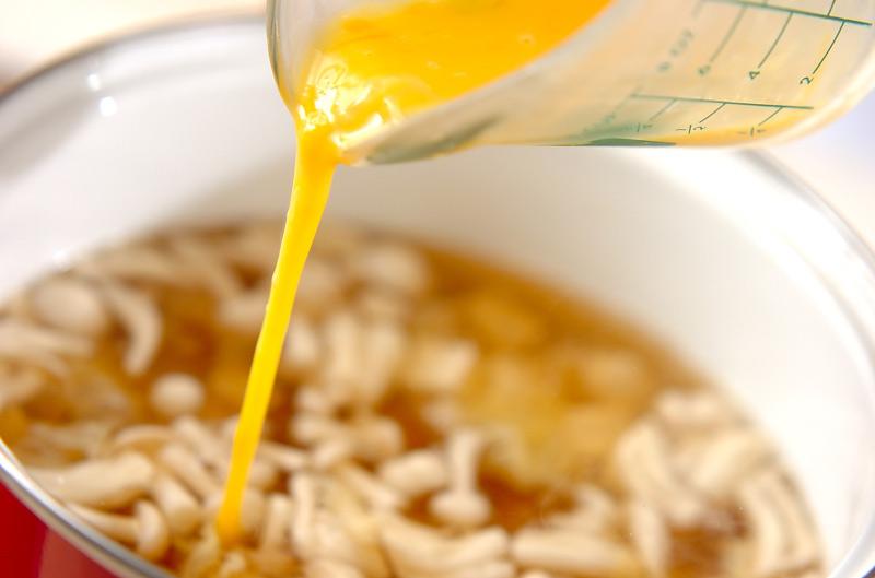 白シメジのかきたま汁の作り方2