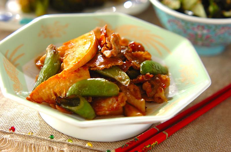 タケノコと豚の甘辛炒めの作り方の手順