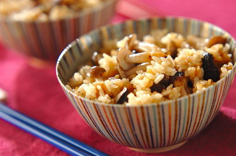 ひと味違うキノコご飯の作り方の手順