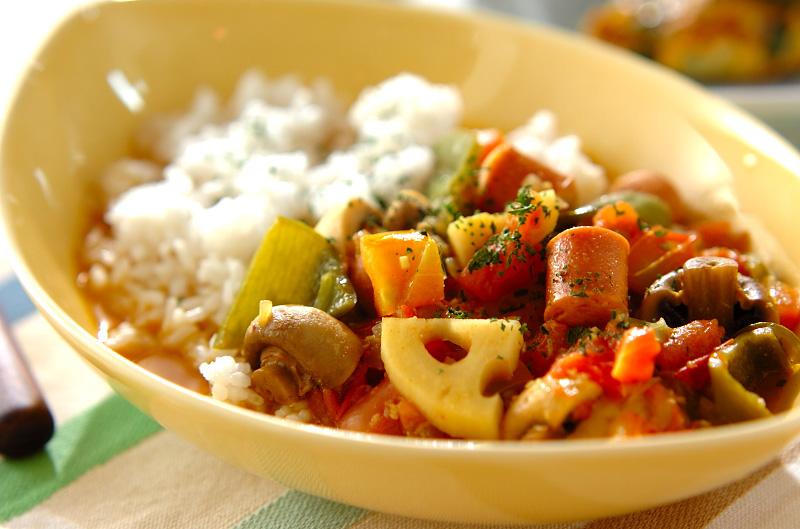 ソーセージのスープカレーの作り方の手順