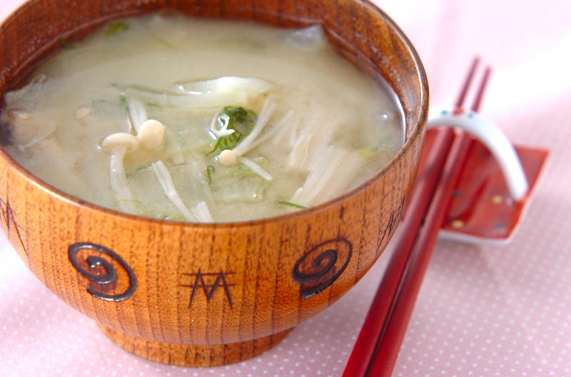 エノキと大根のみそ汁の作り方の手順