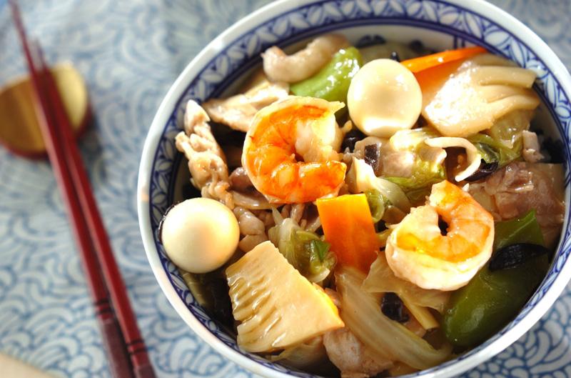 豚肉とエビの中華丼の作り方の手順