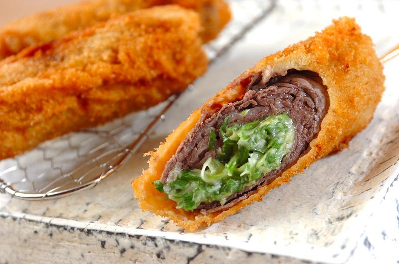 串カツ・牛肉と青ネギ