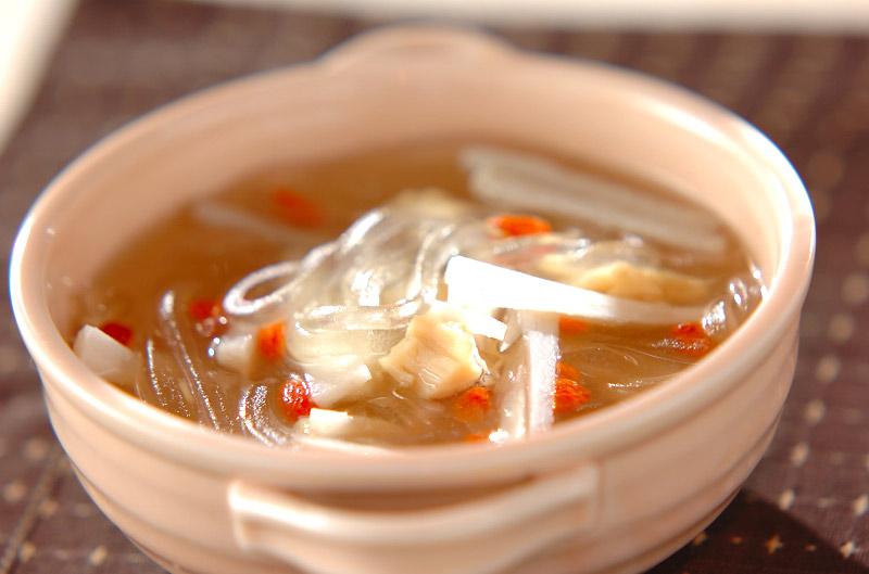 あっさり!葛切りとレンコンの中華スープ