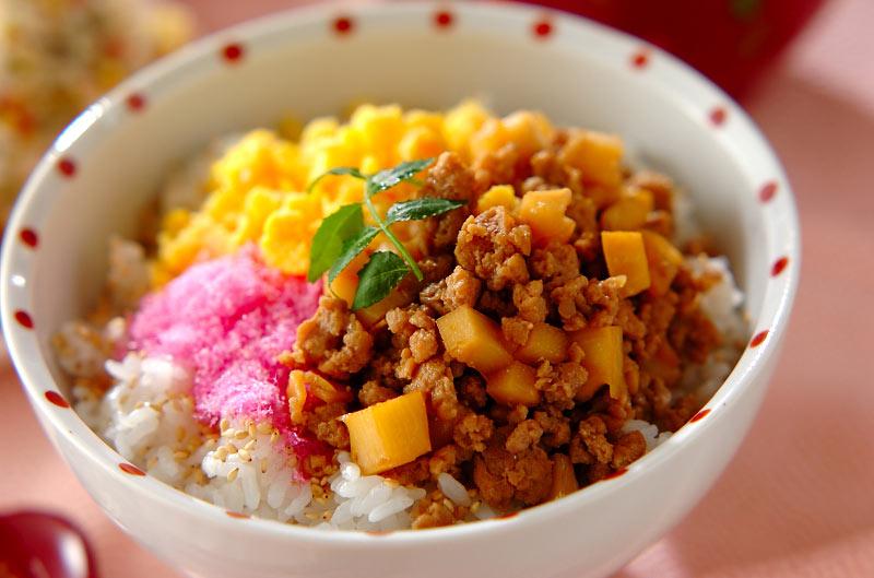 タケノコ入りそぼろご飯の作り方の手順