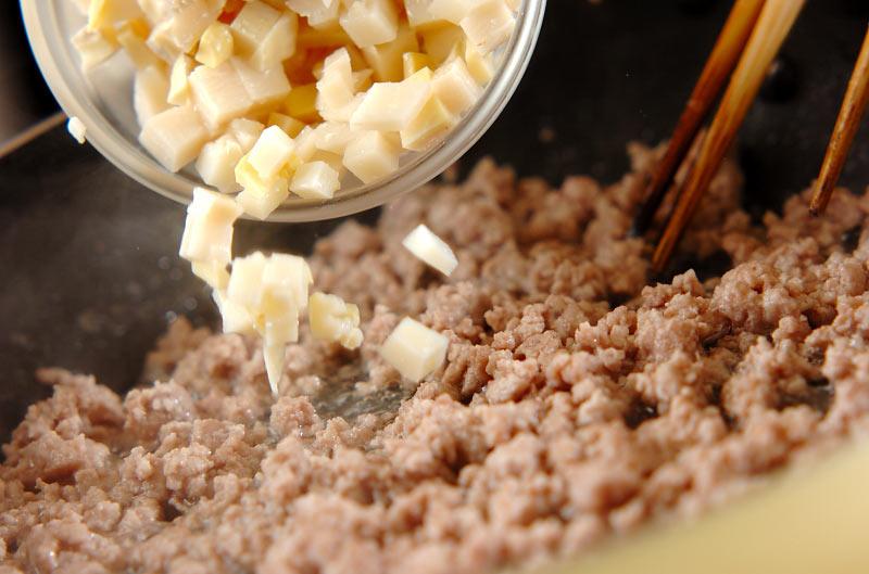 タケノコ入りそぼろご飯の作り方の手順4