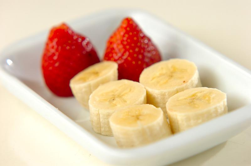 イチゴとバナナのあんこ巻きの下準備2